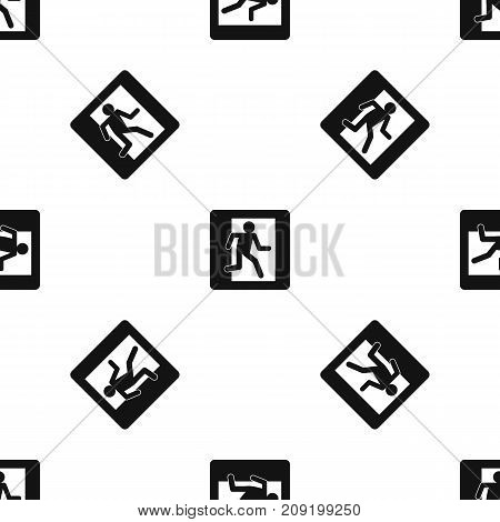 Fire exit sign pattern repeat seamless in black color for any design. Vector geometric illustration