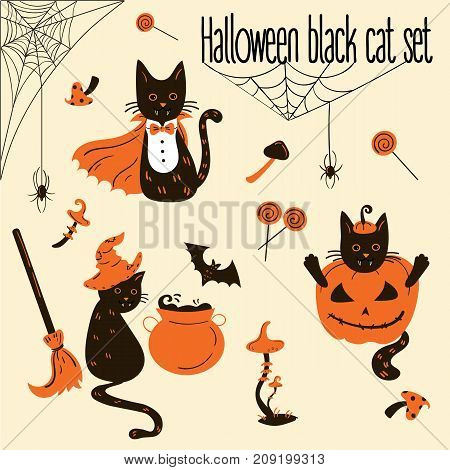 Set of black cats in Halloween costumes. Halloween decor and objects. Vector illustration.