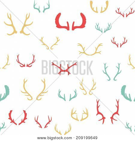 Colorful seamless pattern with deer antlers. Vector illustration EPS 10. White background.