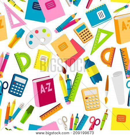 School or office supplies educational accessories vector illustration seamless pattern background.