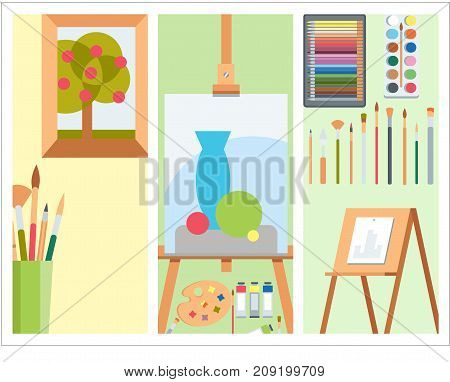 Painting palette cards flat illustration art details stationery creative paint equipment. Vector drawing symbol artist instrument for creativity.