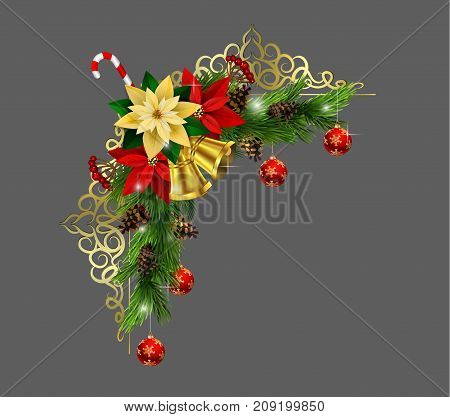 Christmas corner decoration with evergreen treess golden forging and poinsettia with two golden bells isolated vector