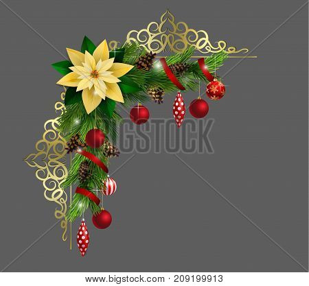 Christmas corner decoration with evergreen treess and golden forging isolated vector