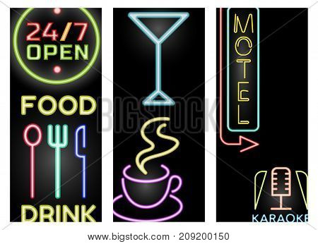 Light neon cards labels vector illustration font decorative symbols night bright text objects. Cafe club decoration electric bar advertise lamp business glowing text.