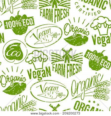 Premium quality eco vegan stamp logo product mark retro grunge badges collection best label vintage tag vector illustration. Customer insignia grunge organic seamless pattern background