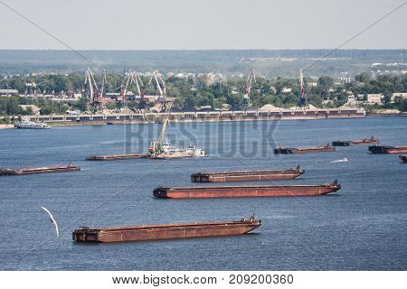 Barges are anchored on the Volga River. Nizhny Novgorod. Russia