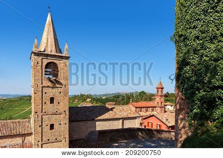 Old houses and belfries in small italian town of Serralunga d'Alba in Piedmont, Northern Italy.