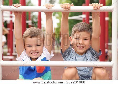 Cute boys on playground