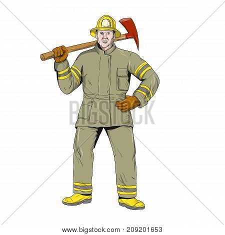 Drawing sketch style illustration of an American Firefighter fireman first responder holding Fire Axe on shoulder standing viewed from front on isolated background.