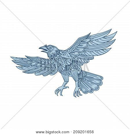 Mandala style illustration of a Crow, raven or blackbird  Flying  viewed from side on isolated background.