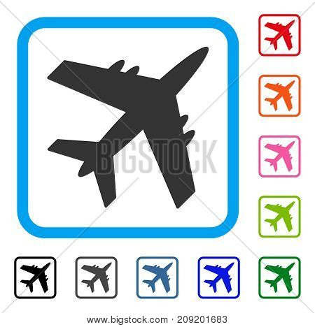 Aircraft icon. Flat grey pictogram symbol inside a light blue rounded square. Black, gray, green, blue, red, orange color variants of Aircraft vector. Designed for web and software user interface.