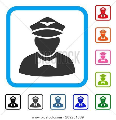 Airline Steward icon. Flat gray pictogram symbol inside a light blue rounded square. Black, gray, green, blue, red, orange color versions of Airline Steward vector.