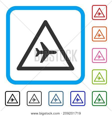 Airplane Danger icon. Flat gray iconic symbol inside a light blue rounded frame. Black, gray, green, blue, red, orange color versions of Airplane Danger vector.