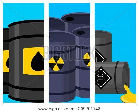 Stack different oil drums fuel container liquid brochure cask storage card. Rows of steel barrels capacity tanks. Natural metal old oil bowels chemical vessel vector set.