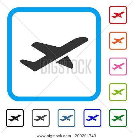 Airplane Takeoff icon. Flat grey iconic symbol in a light blue rounded frame. Black, gray, green, blue, red, orange color additional versions of Airplane Takeoff vector.