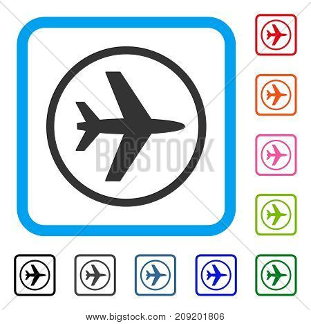 Airport icon. Flat grey iconic symbol in a light blue rounded rectangular frame. Black, gray, green, blue, red, orange color additional versions of Airport vector.