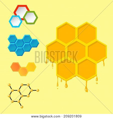 Vector linear hexagon logos and design elements different honeycombs abstract icons geometric modern business and technologies. Graphic set abstract collection.