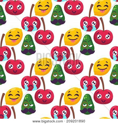 Cartoon emotions fruit characters natural food vector seamless pattern background. Smile food nature happy expression. Vitamin healthy juicy mascot tasty garden design.