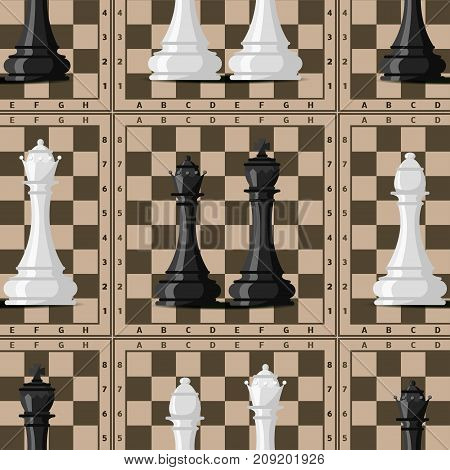 Chess board and chessmen vector leisure seamless pattern background. Knight group white and black piece competition. Strategy play leisure battle choice tournament.
