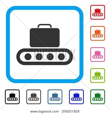 Baggage Conveyor icon. Flat grey pictogram symbol inside a light blue rounded frame. Black, gray, green, blue, red, orange color variants of Baggage Conveyor vector.