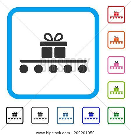 Baggage Transportation icon. Flat gray pictogram symbol in a light blue rounded rectangle. Black, gray, green, blue, red, orange color versions of Baggage Transportation vector.