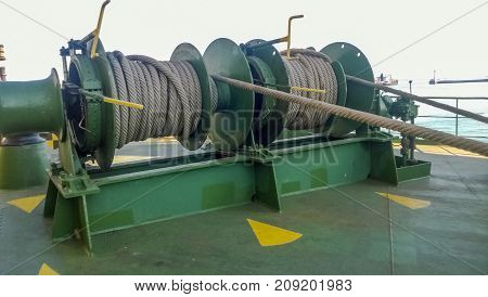 Mechanisms Of Tension Control Ropes. Winches. Equipment On The D