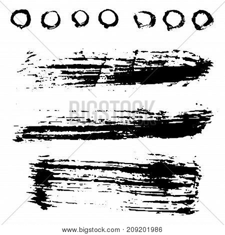 Vector large set of different grunge brush strokes ink art texture dirty creative grungy element paintbrush. Brushstroke dry spot drops graphic spray hand drawn graffiti