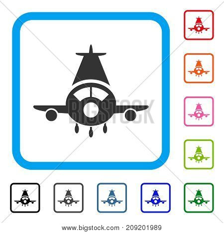 Cargo Plane icon. Flat grey pictogram symbol in a light blue rounded rectangular frame. Black, gray, green, blue, red, orange color additional versions of Cargo Plane vector.