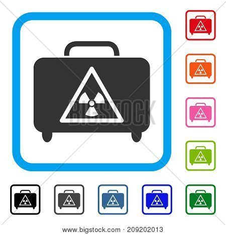 Dangerous Luggage icon. Flat grey iconic symbol inside a light blue rounded rectangle. Black, gray, green, blue, red, orange color additional versions of Dangerous Luggage vector.