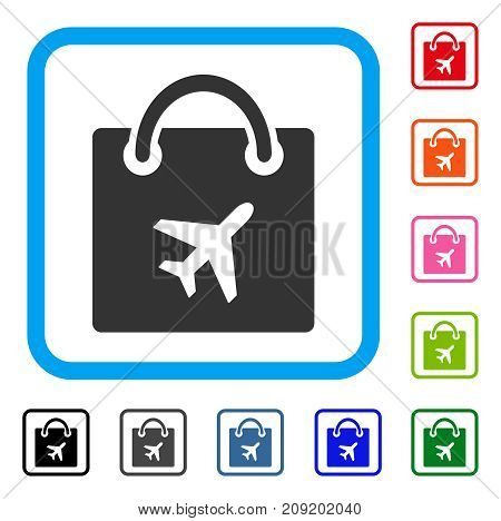 Duty Free Shopping icon. Flat grey iconic symbol inside a light blue rounded squared frame. Black, gray, green, blue, red, orange color versions of Duty Free Shopping vector.