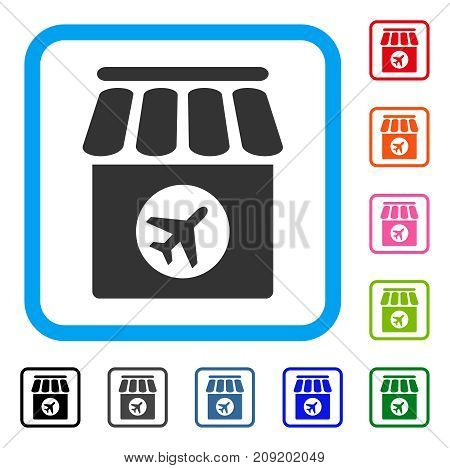 Duty Free icon. Flat gray iconic symbol in a light blue rounded squared frame. Black, gray, green, blue, red, orange color additional versions of Duty Free vector.