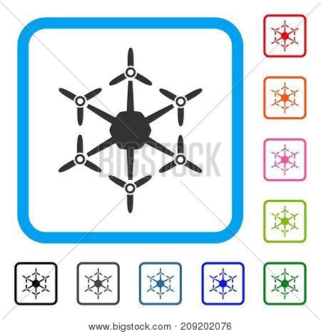 Hexacopter icon. Flat gray pictogram symbol inside a light blue rounded rectangular frame. Black, gray, green, blue, red, orange color additional versions of Hexacopter vector.