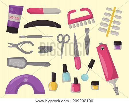 Manicure instruments set hygiene hand care pedicure salon tweezers fingernail. Fashion personal cosmetics equipment vector illustration.
