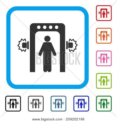 Passenger Screening icon. Flat gray iconic symbol inside a light blue rounded square. Black, gray, green, blue, red, orange color versions of Passenger Screening vector.