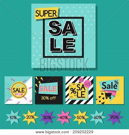 Vector illustration special offer big sale flayer card template special spring discount promotion poster. Fashion promo advertising frame marketing season holiday price.