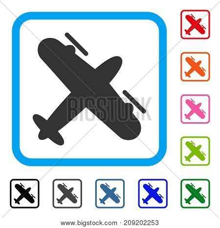 Propeller Aircraft icon. Flat grey iconic symbol inside a light blue rounded frame. Black, gray, green, blue, red, orange color versions of Propeller Aircraft vector.