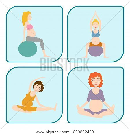 Pregnancy sport fitness people and healthy character lifestyle concept. Group of happy pregnant women sitting on mats meditation and talking in gym. Relax person well being.