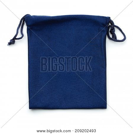 Blue drawstring gift bag isolated on white