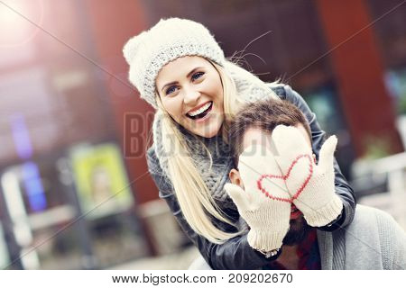 Picture showing happy young couple dating in the city