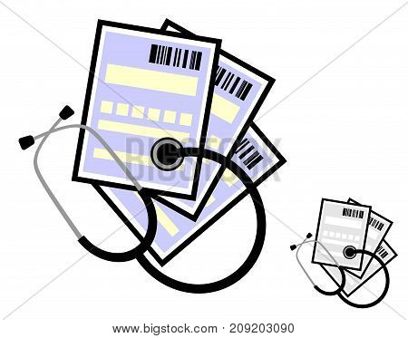A stethoscope and medical certificates or prescriptions to buy medicines with a bar code