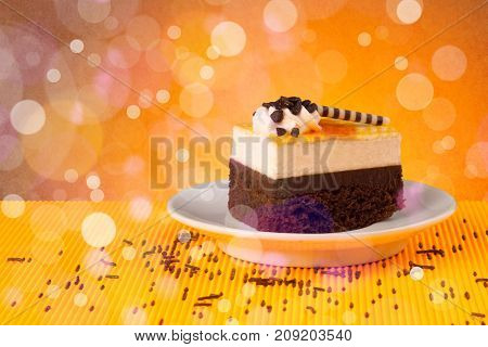 Close up of delicious tasty homemade cakes with bokeh light background