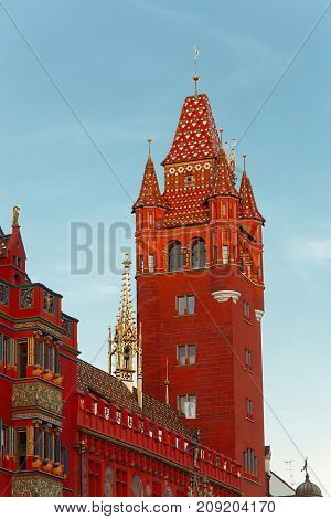 Basel town hall red tower