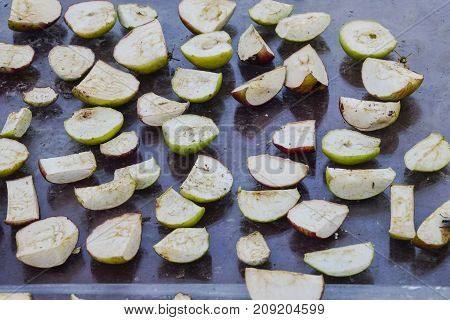 Dried Fruits Are Dried On A Glass Surface. Dried Apples, Cut Int