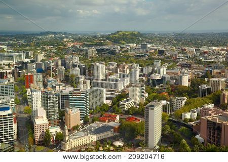 Auckland, New Zealand viewed from high angle, towards suburbs