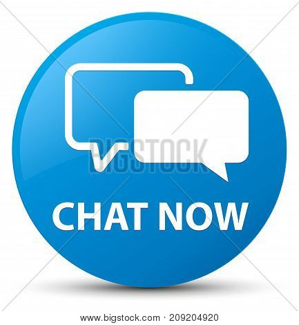 Chat Now Cyan Blue Round Button
