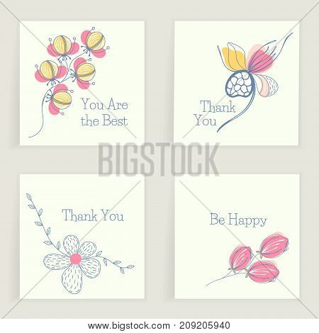 Four square cards with wishes. Hand drawn creative flowers. Colorful artistic background with blossom. Abstract herb. It can be used for invitation thank you message postcard. Vector eps10