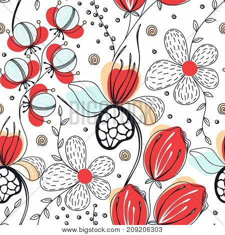 Floral seamless pattern. Hand drawn creative flowers. Colorful artistic background. Abstract herb. Can be used for wallpaper textiles wrapping card cover. Vector illustration eps10