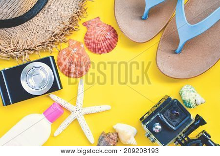 Top view group of accessories travel to the sea