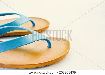 blue sandal on table color vintage style