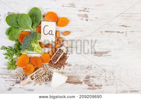 Products And Ingredients Containing Calcium, Natural Minerals And Dietary Fiber, Healthy Nutrition